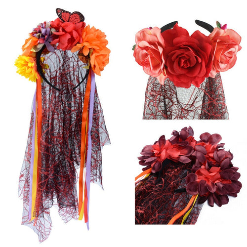 Day Of The Dead Veil Halloween Fancy Dress Flower - The Night