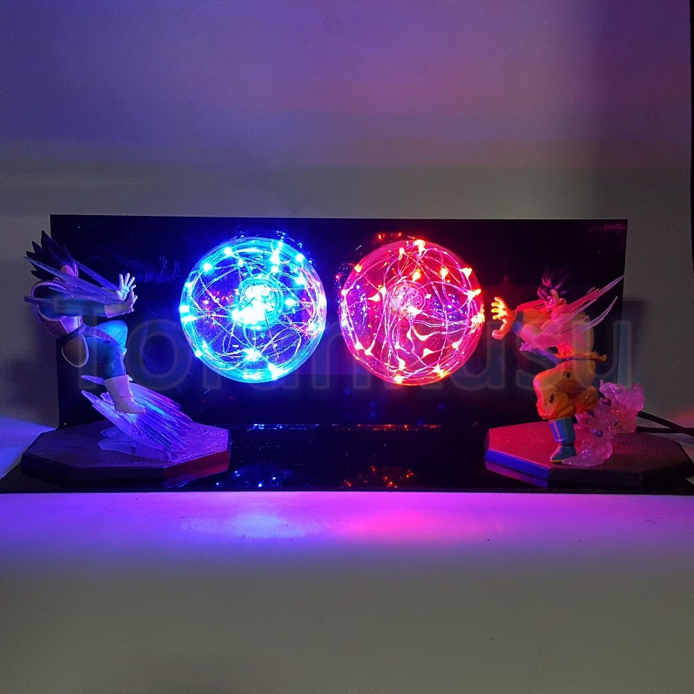 Action Figure Son Goku vs Vegeta Flighting Lamp - The Night