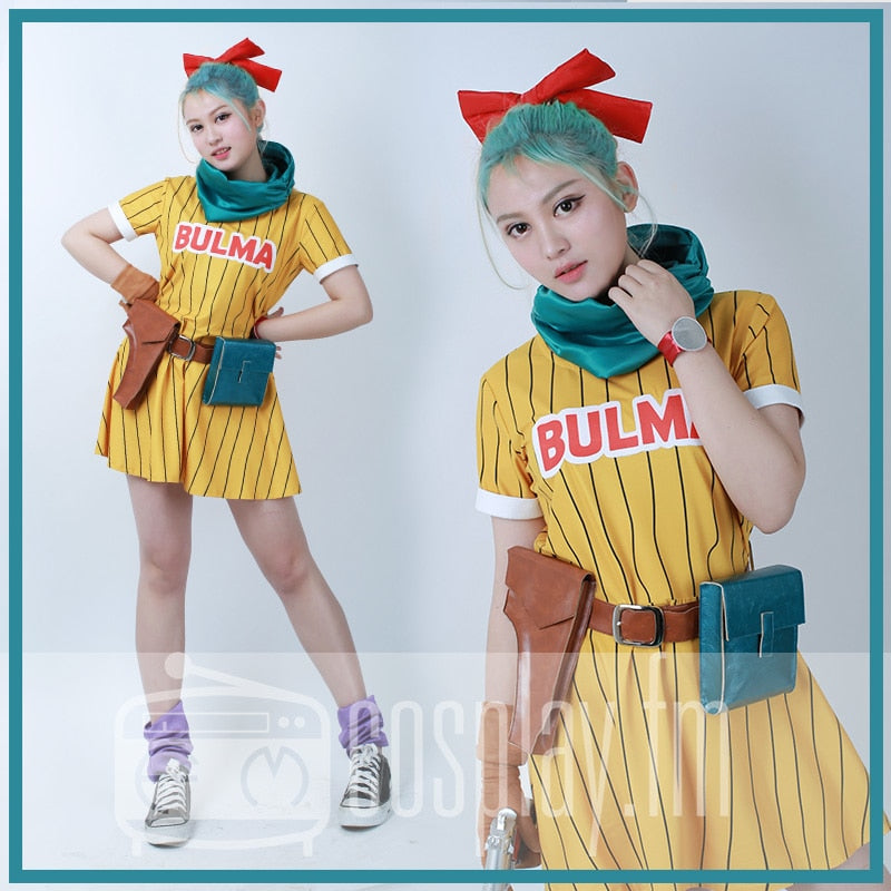 Dragon Ball Z Bulma Cosplay Costume Yellow Dress with Scarf and Belt - The Night