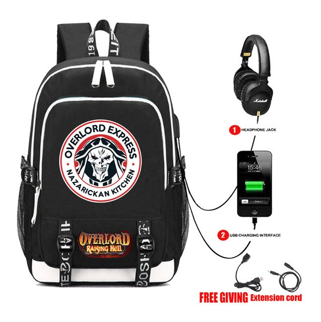 Overlord Canvas Backpack USB Charging Headphone Backpack - The Night