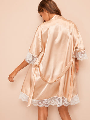 Floral Lace Satin Belted Robe