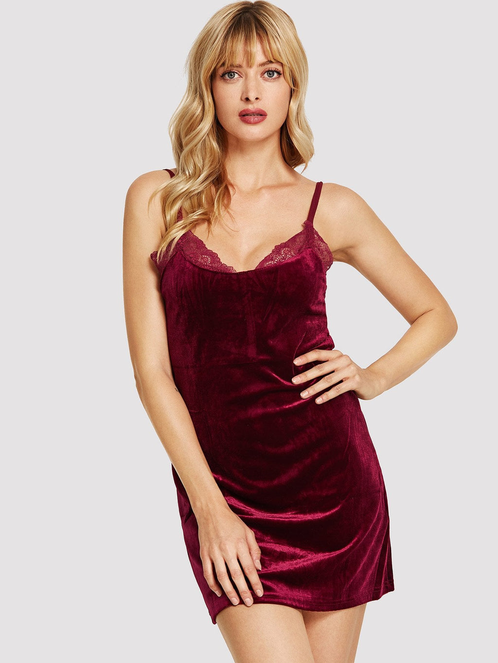 Lace Trim Velvet Cami Dress