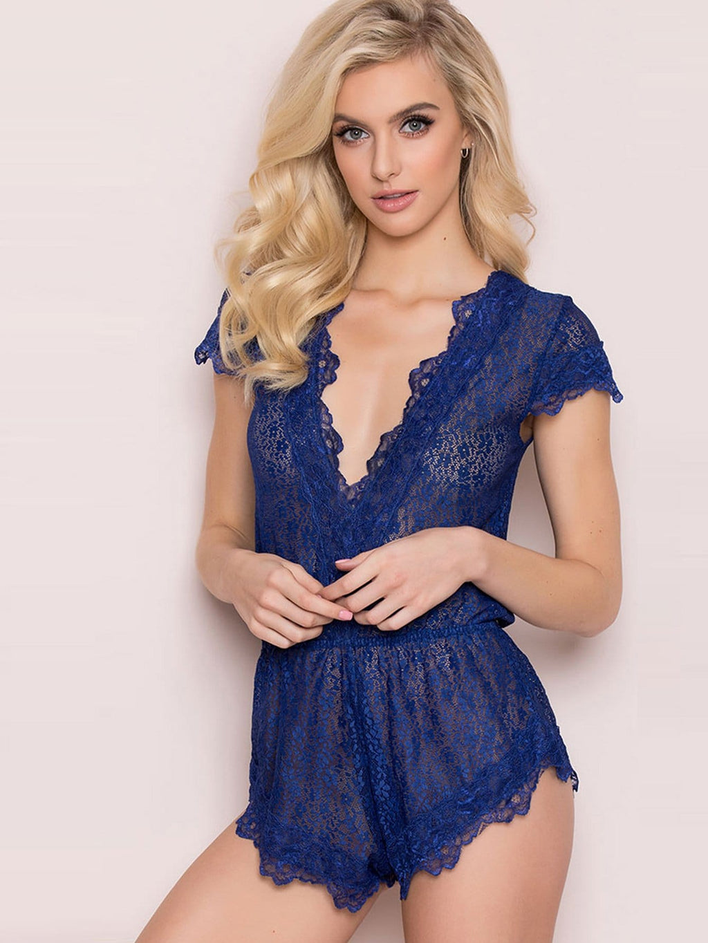 Lace Teddy Bodysuit - Blue