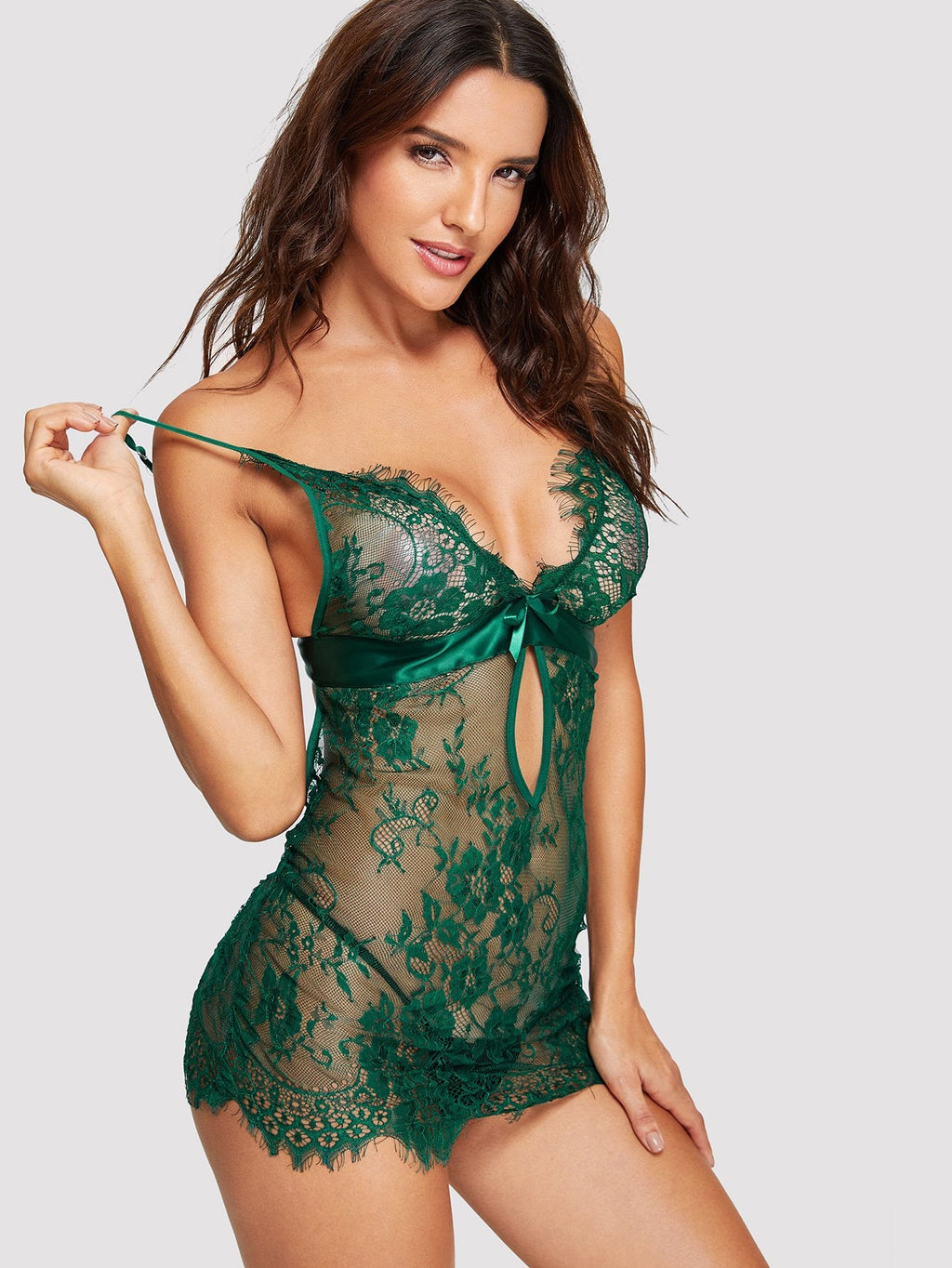 Eyelash Lace Slips with Thong - Emerald