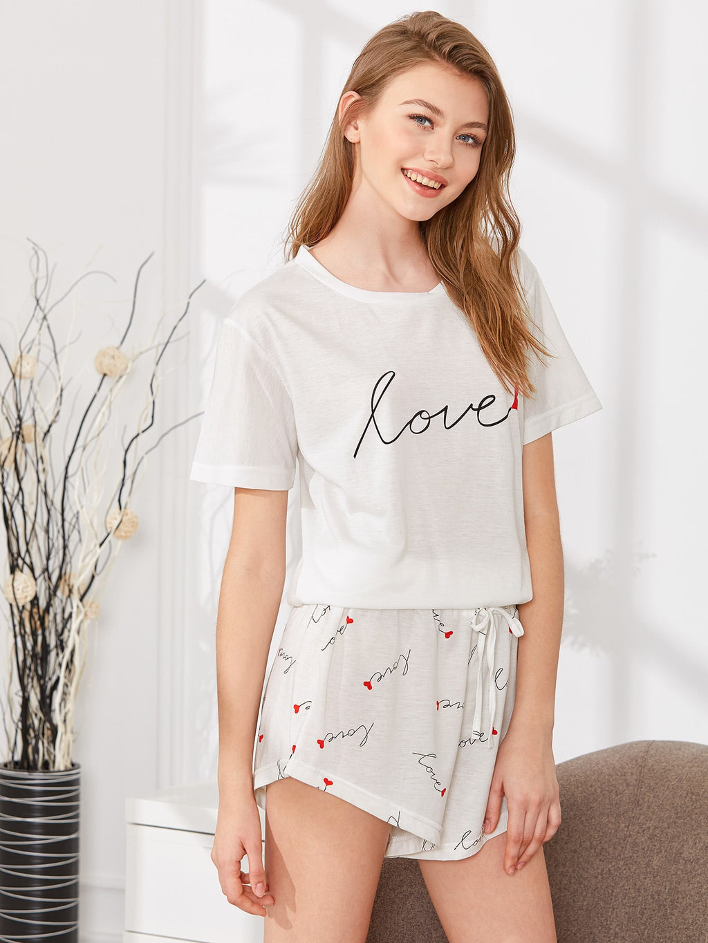 """Love"" Print PJ Set - White"