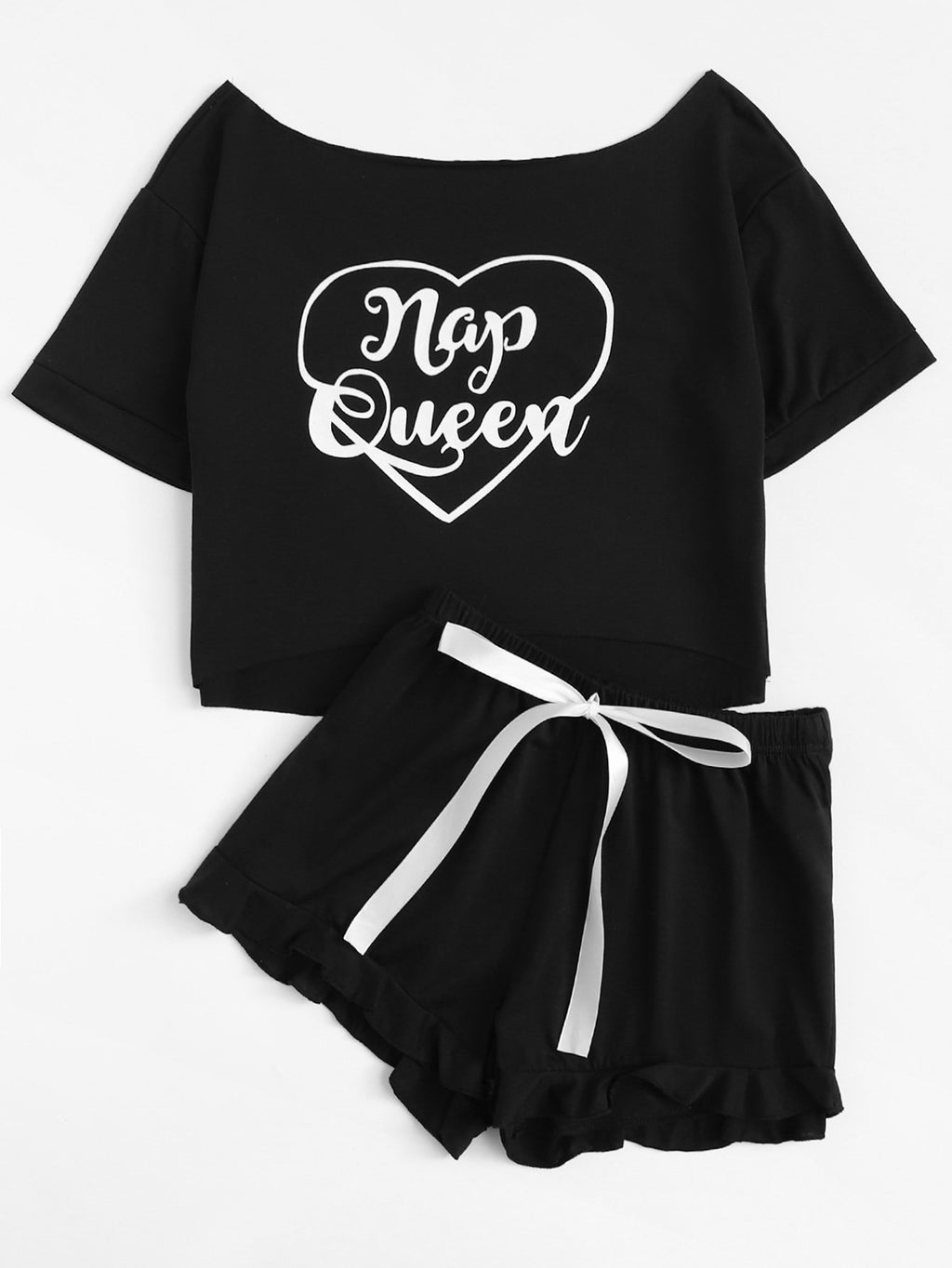 """Nap Queen"" Tee and Ruffle Shorts PJ Set - Black"