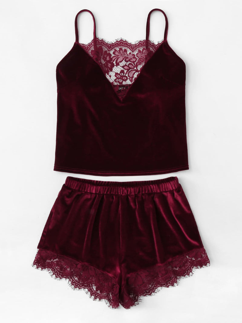Velvet Cami & Shorts PJ Set - Ruby