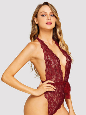Floral Lace Teddy Bodysuit - Red