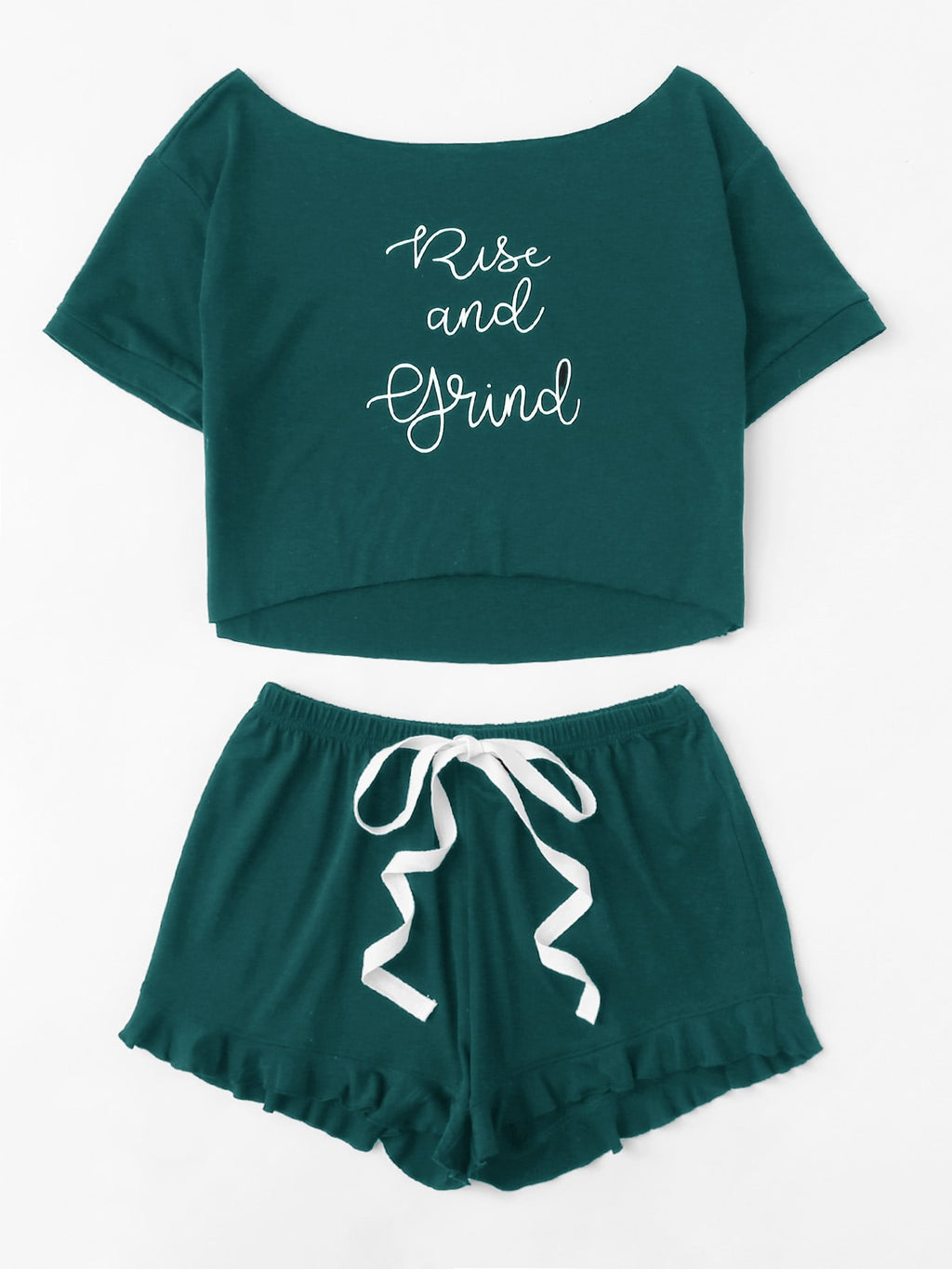 """Rise and Grind"" Tee and Ruffle Shorts PJ Set - Teal"