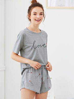"""Love"" Print PJ Set - Grey"