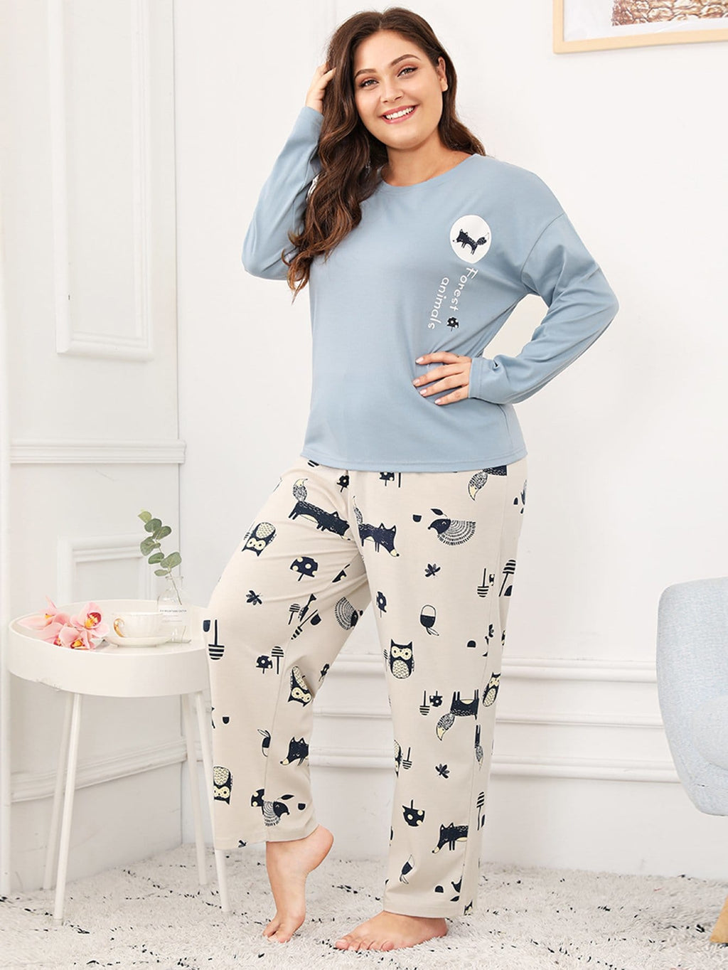Curvy Animal Print PJ Set