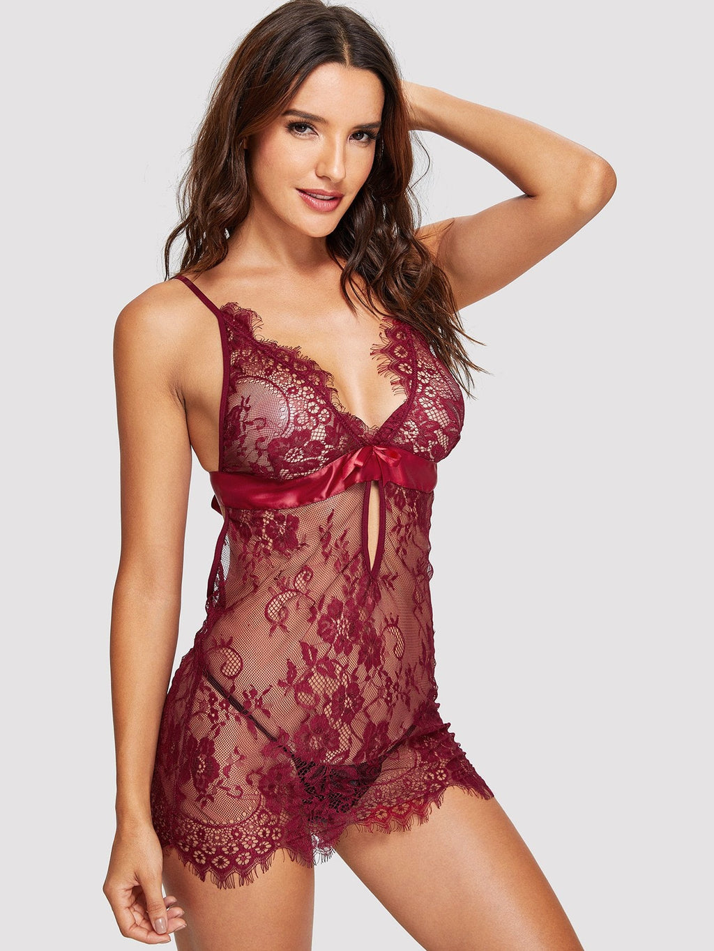 Eyelash Lace Slip with Thong - Ruby