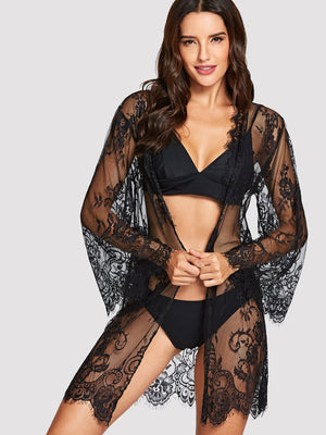 Floral Lace Robe With Thong