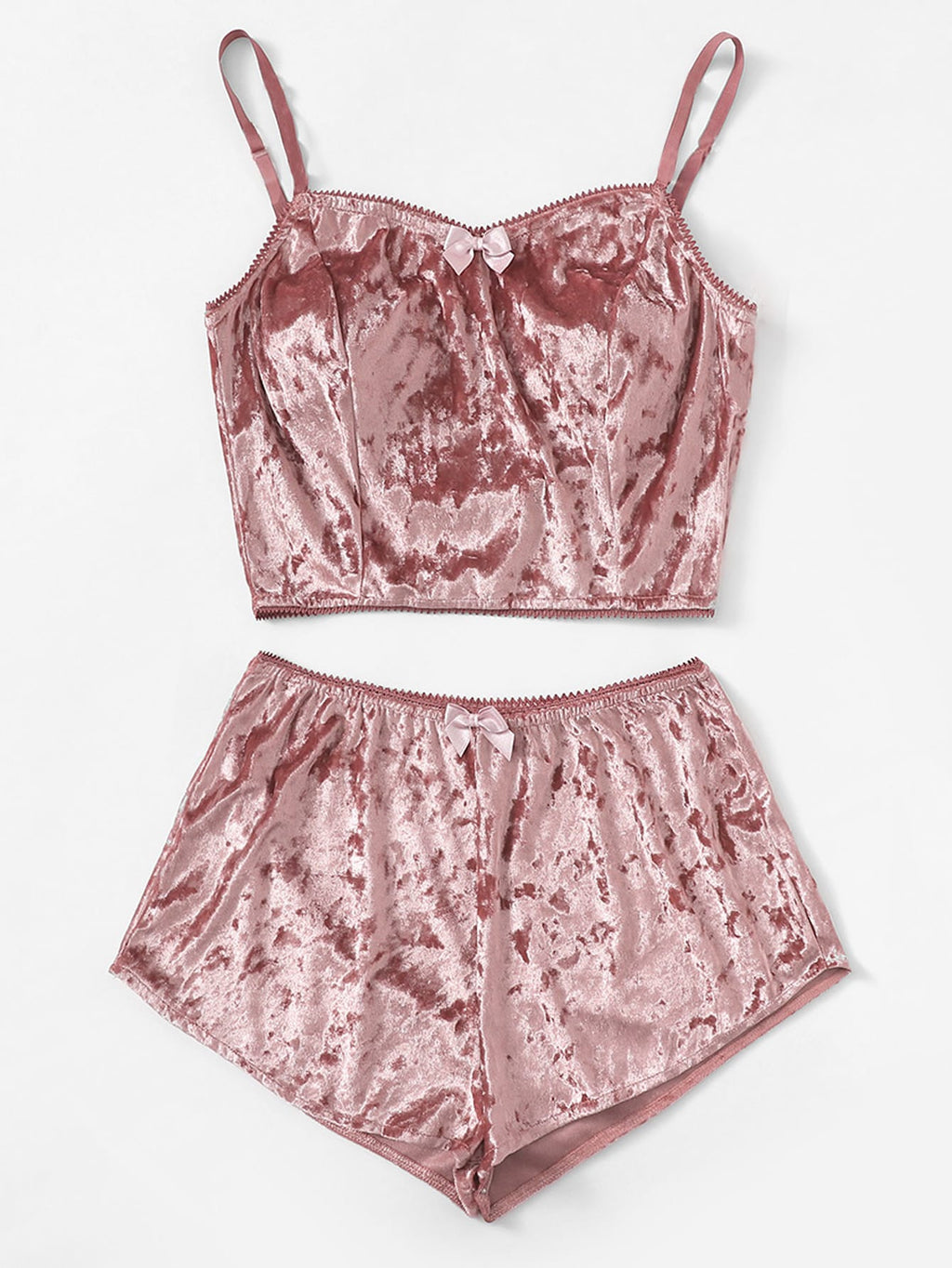 Crushed Velvet Cami PJ Set - Pink