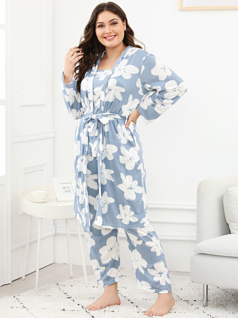 Curvy Floral Print PJ Set with Robe