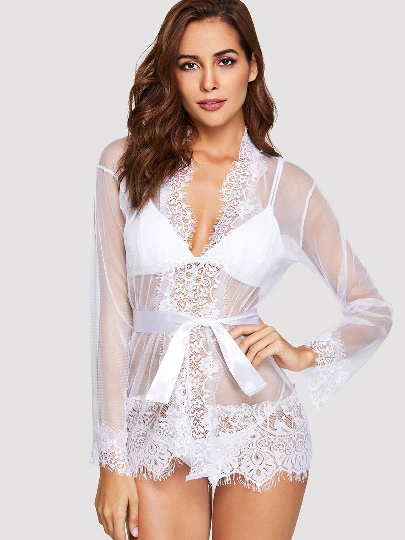 Eyelash Lace Trim Robe