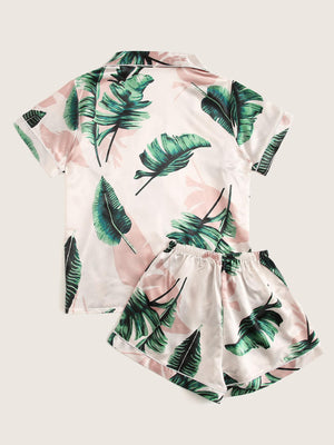 Tropical Print Button-up Satin PJ Set