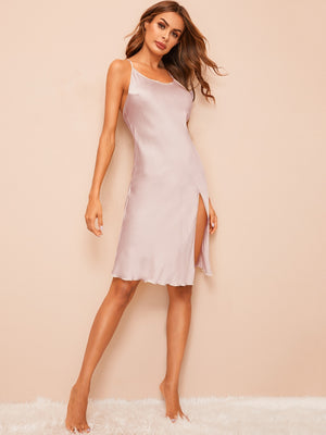 Side Slit Satin Cami Dress