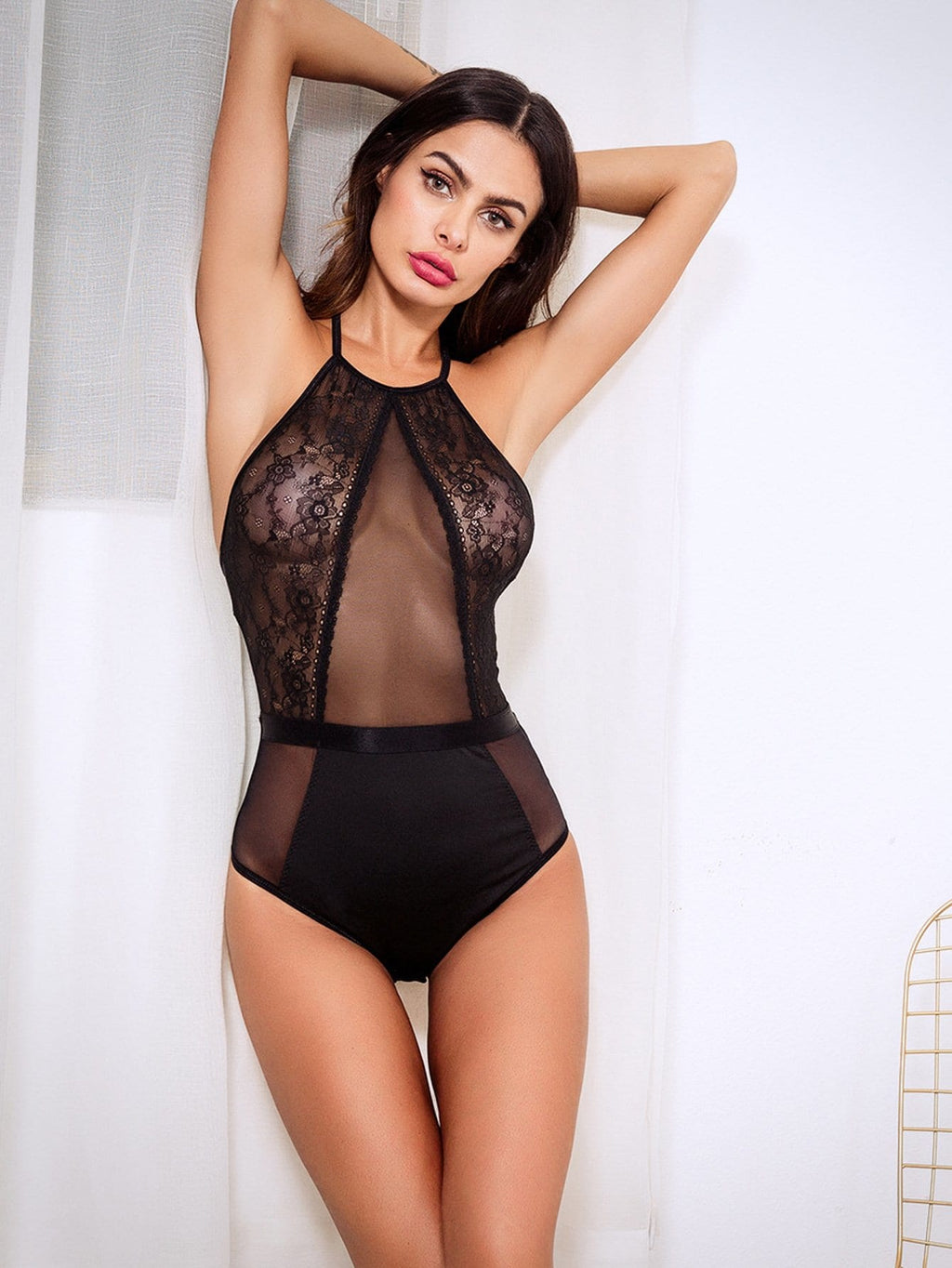 Cut-Out Lace Teddy Bodysuit