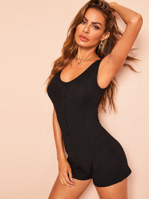 Black Ribbed Romper