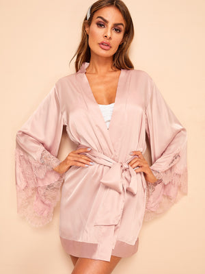 Floral Lace Satin Robe