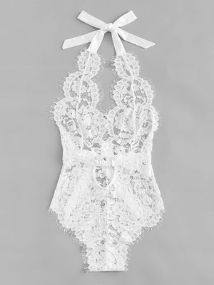 Floral Lace Teddy Bodysuit - White