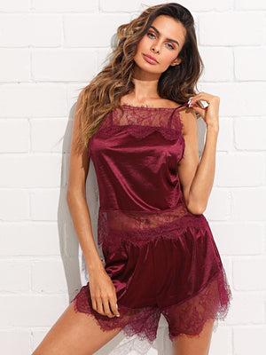 Satin Cami  & Shorts PJ Set - Ruby