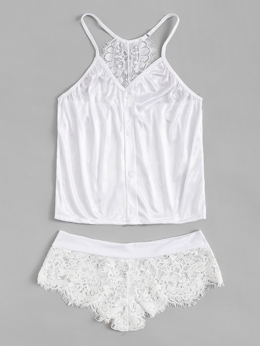 Contrast Lace Cami Top & Panty