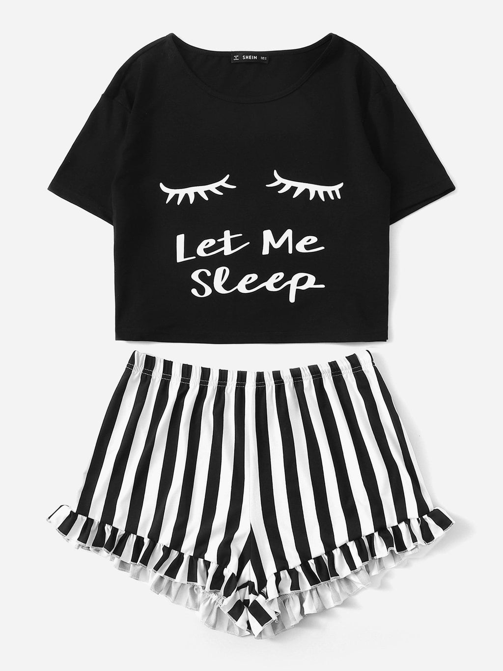 """Let Me Sleep"" Tee and Ruffled Shorts PJ Set - Black"