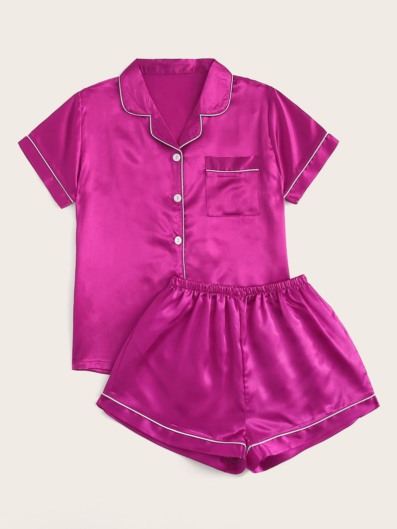 Button-up Satin PJ Set