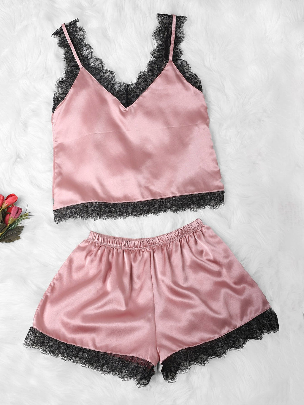 Satin Cami & Shorts PJ Set - Pink