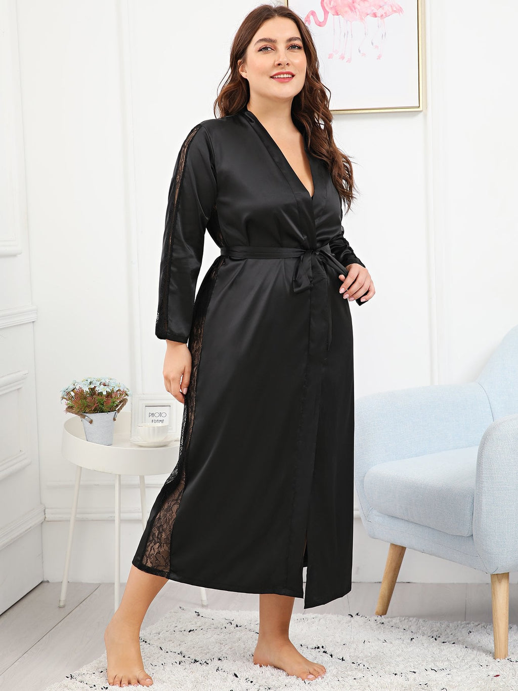 Curvy Long Satin Robe with Lace Slit