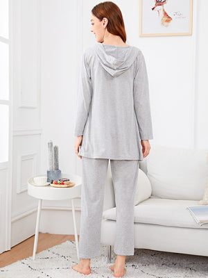 Solid Cami PJ Set with Hooded Robe