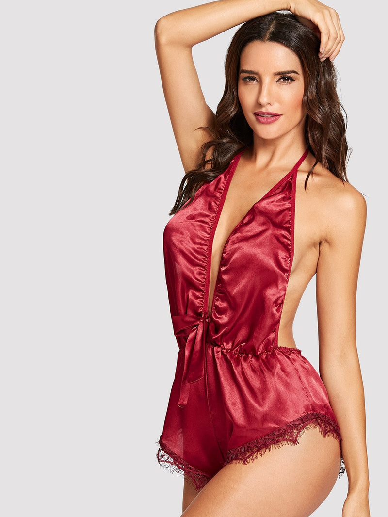Deep V Satin Romper - Red