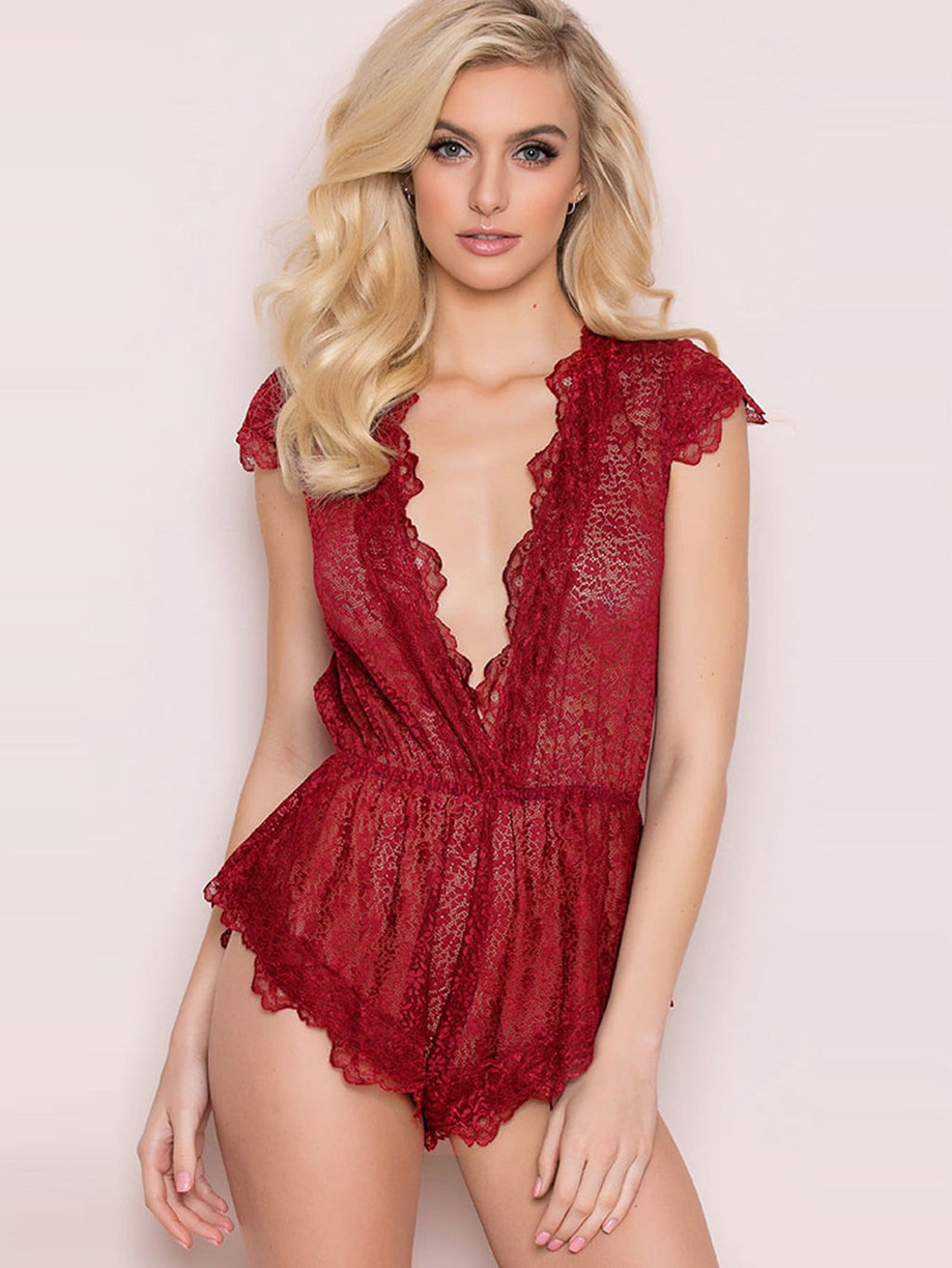 Lace Teddy Bodysuit - Red