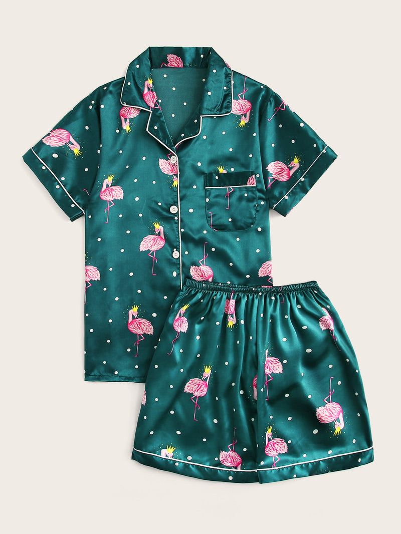Flamingo Print Button-up Satin PJ Set