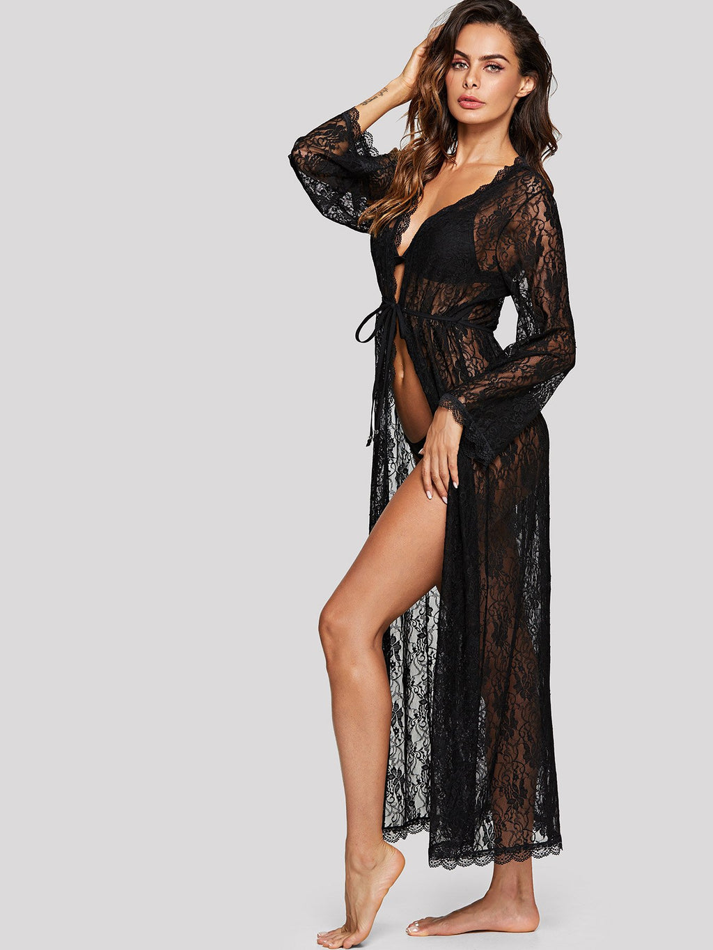 Long Lace Robe with Thong