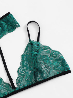 Lace Lingerie Set with Choker - Emerald