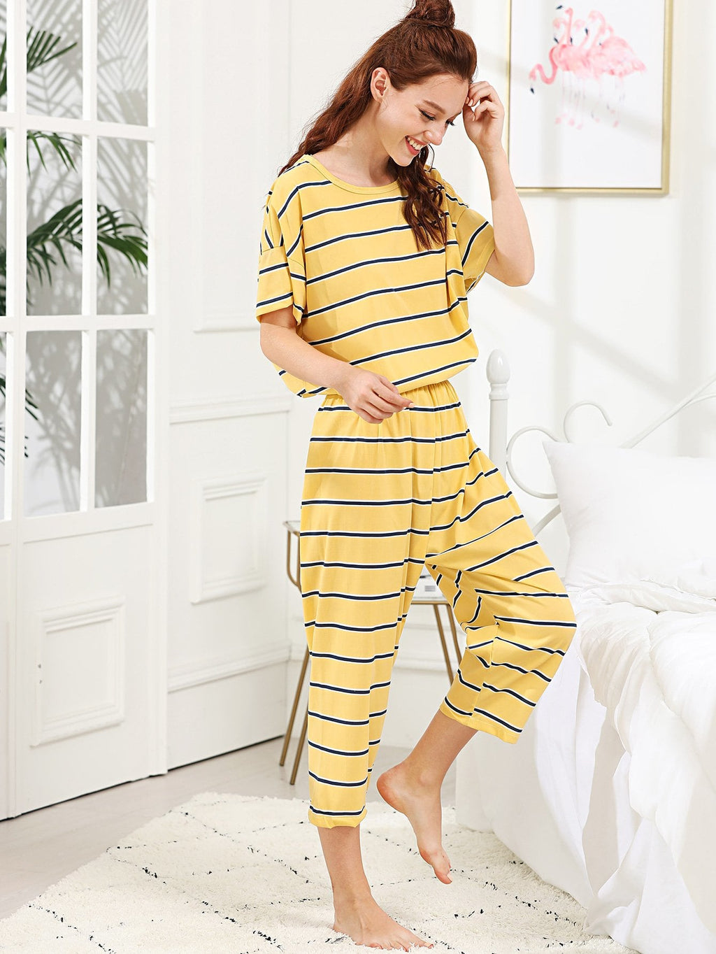 Yellow Striped PJ Set