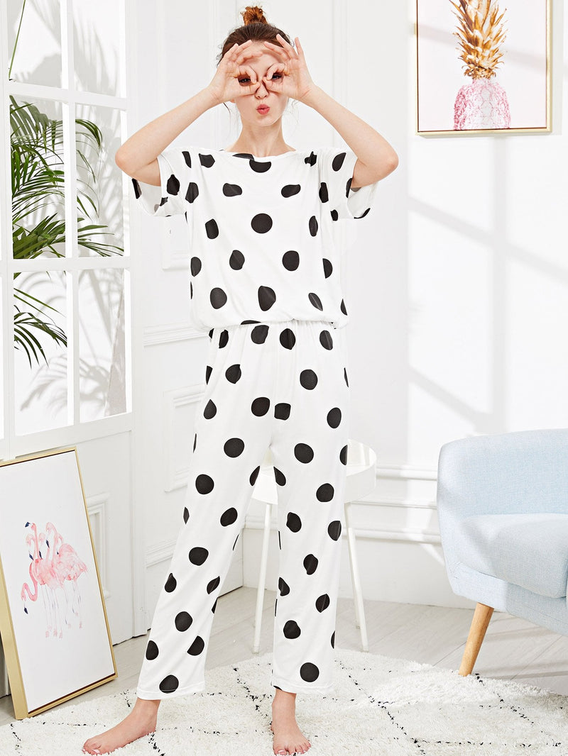 Polka Dot PJ Set - White