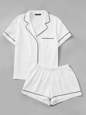 Button up Shirt & Shorts PJ Set - White