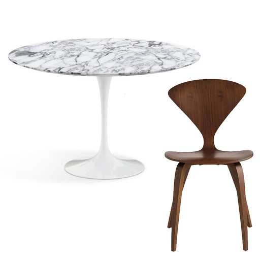 Saarinen Arabescato 120cm & Cherner Dining Package | Freeship