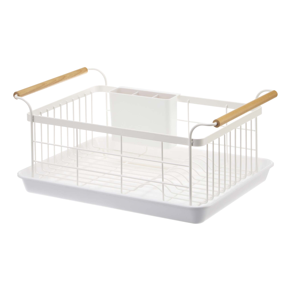 White Dishrack with Solid Ash Handle