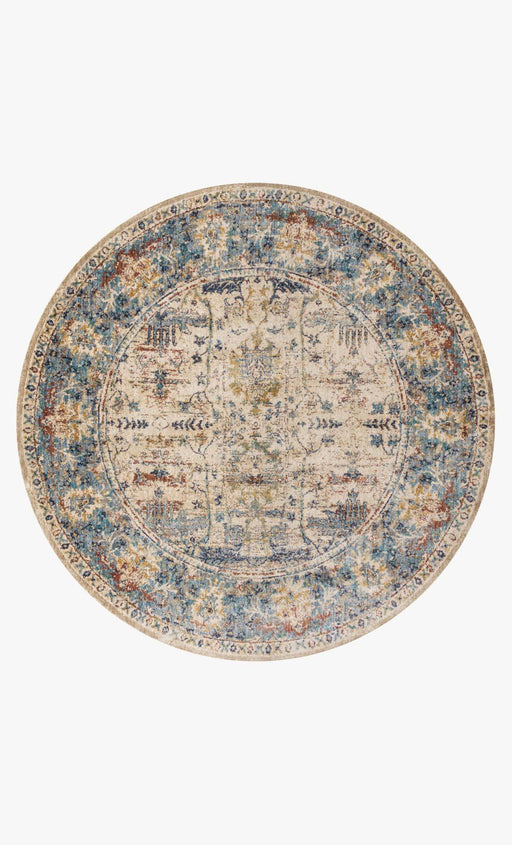 Anastasia Round Rug | Sand & Light Blue