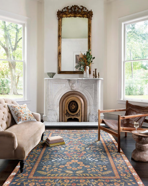 Fiore Florence Rug | Navy & Rust