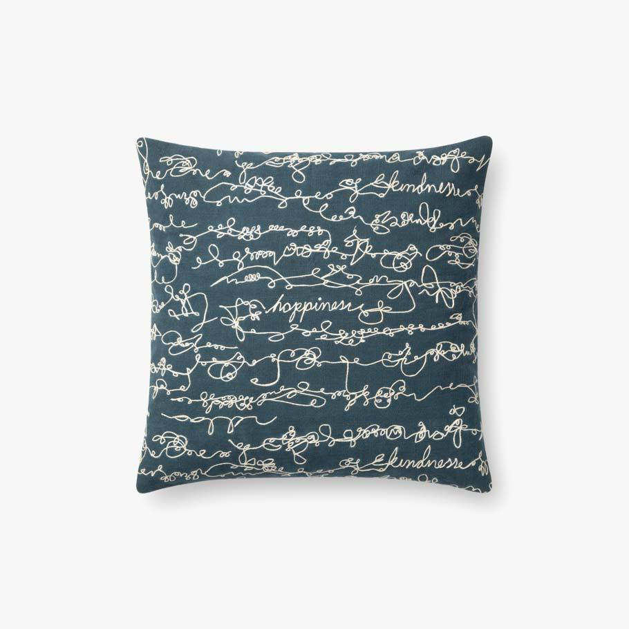 Blue Happiness Embroidered Pillow