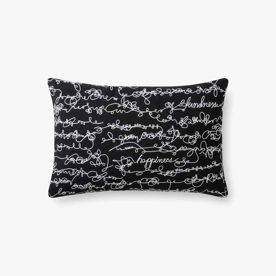 Black Rectangular Happiness Embroidered Pillow