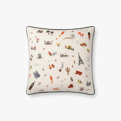 Travel Around Pillow Ivory