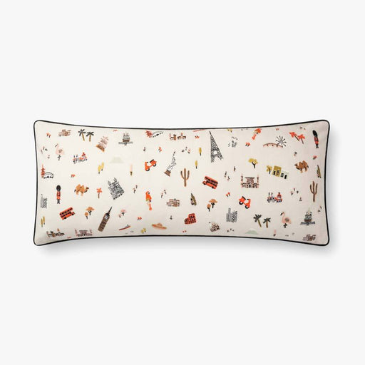Travel Around Rectangular Pillow Ivory