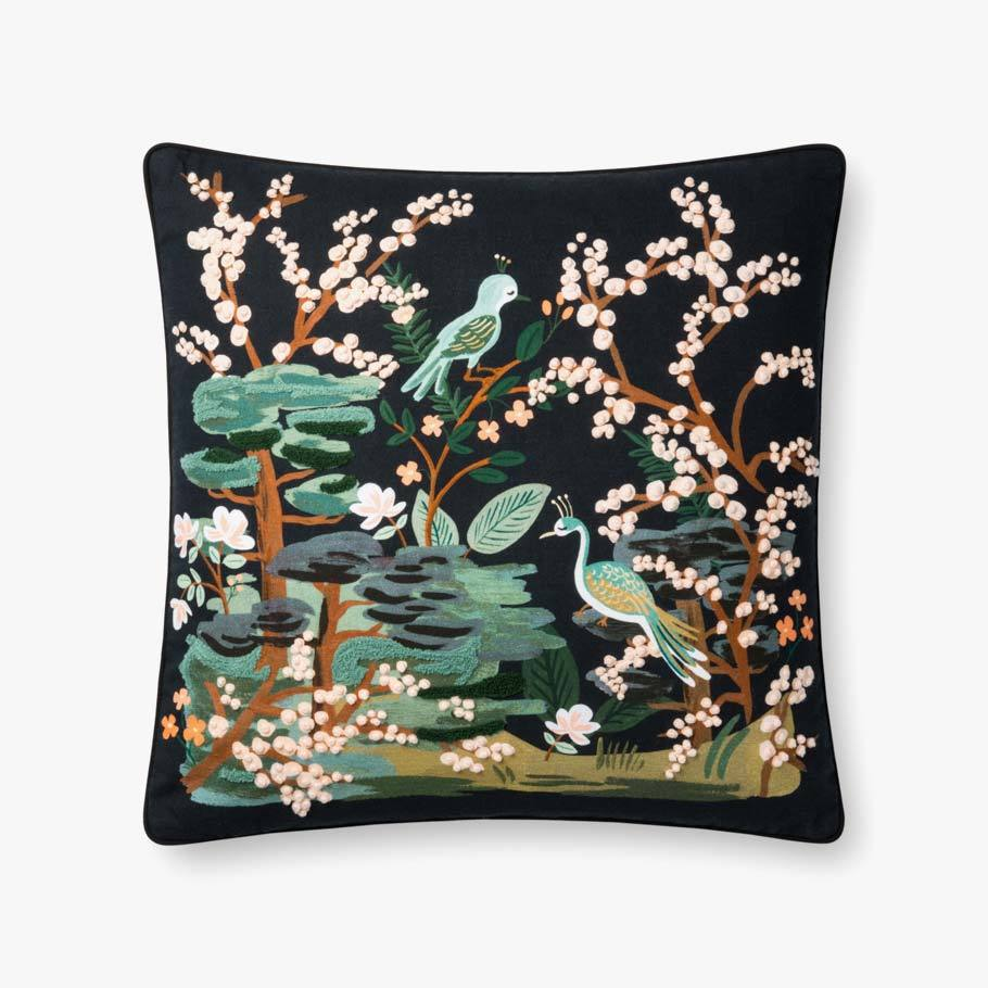 Black Bird and Flower Pillow